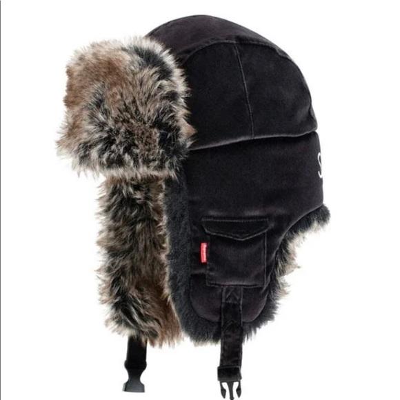Supreme Velvet Trooper Hat - Black